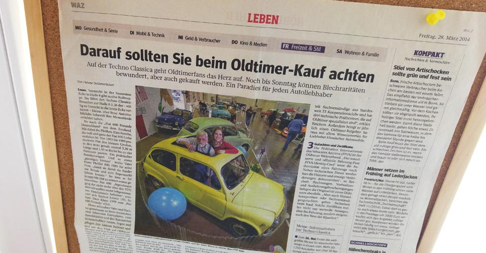 Bericht zur Techno Classica in der WAZ, 2014.